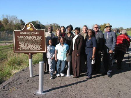 Residents honoring the new historical marker